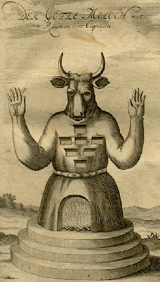 "An 18th-century German illustration of Moloch (""Der Götze Moloch"" i.e. The Idol Moloch)."